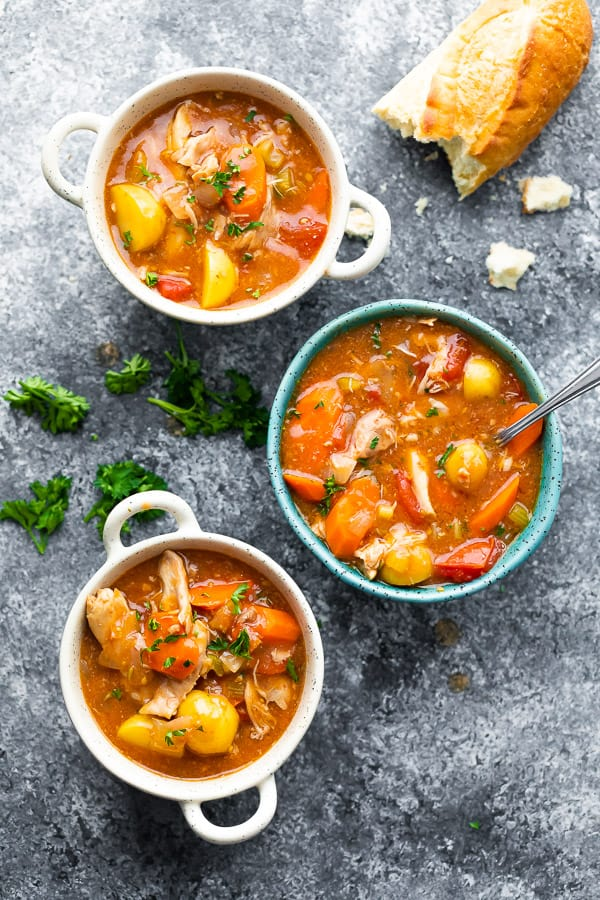 three bowls of crockpot chicken stew