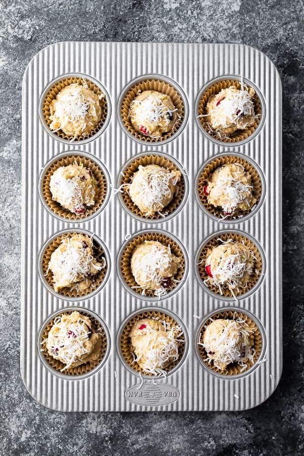 cranberry muffin recipe in muffin pan before baking