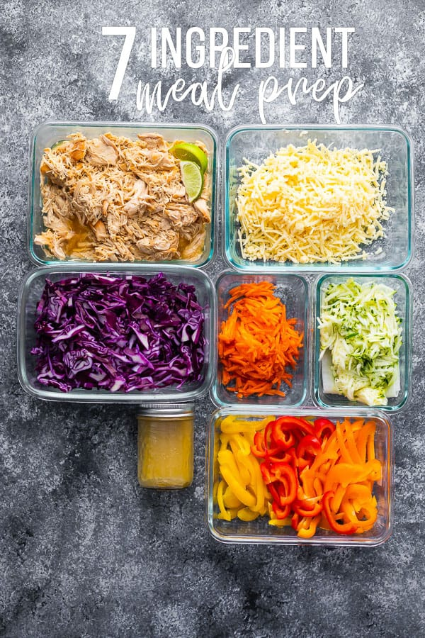 overhead shot of 7 meal prep containers with prepped food for the 7 Ingredient Meal Prep Plan