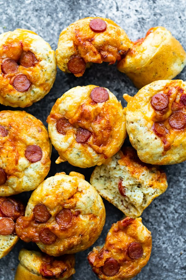 overhead view of pizza puffs