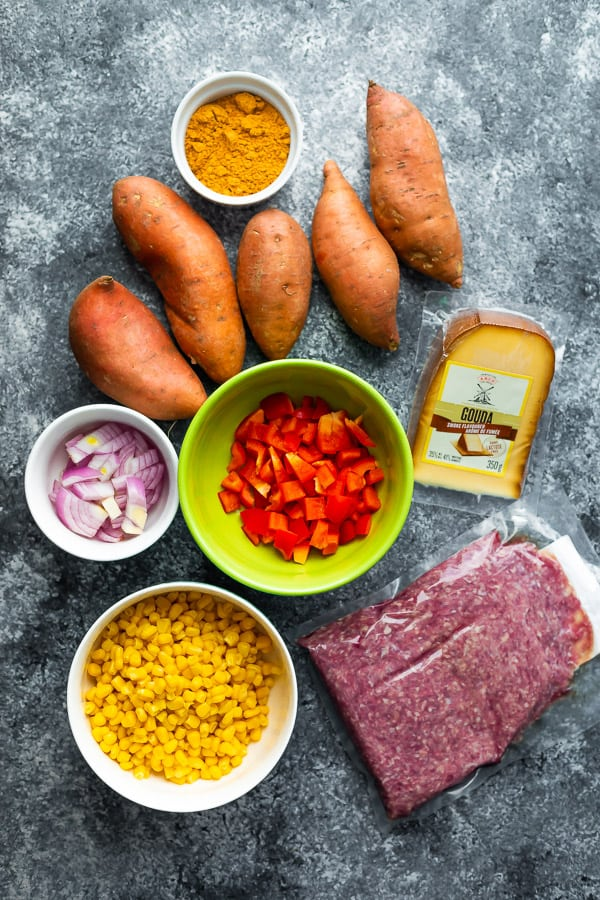 ingredients for the taco stuffed sweet potatoes