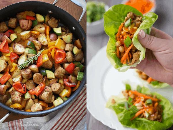 iki sağlıklı bir Pot yemek ile kolaj görüntü