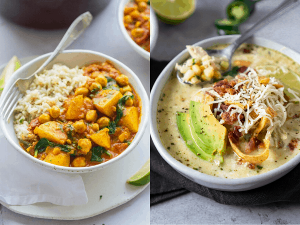 collage image with two one pot meal recipes