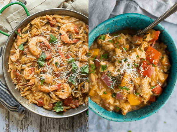collage image with two easy One Pot Meals