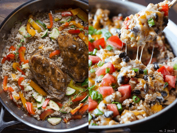 collage image with two healthy One Pot Meals