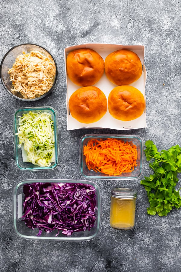 overhead shot of the ingredients required for shredded chicken sandwich recipe