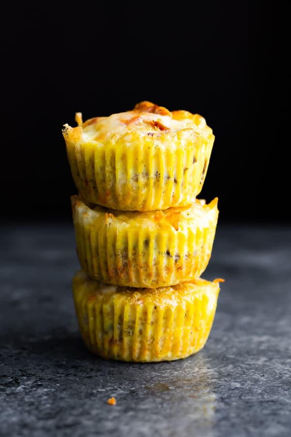stack of three quinoa egg muffins