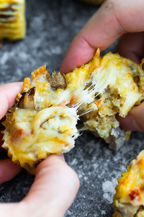 pulling the Quinoa Egg Muffins apart