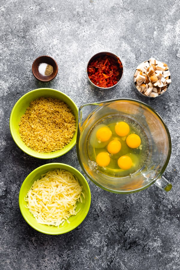 ingredients required for meal prep egg muffins