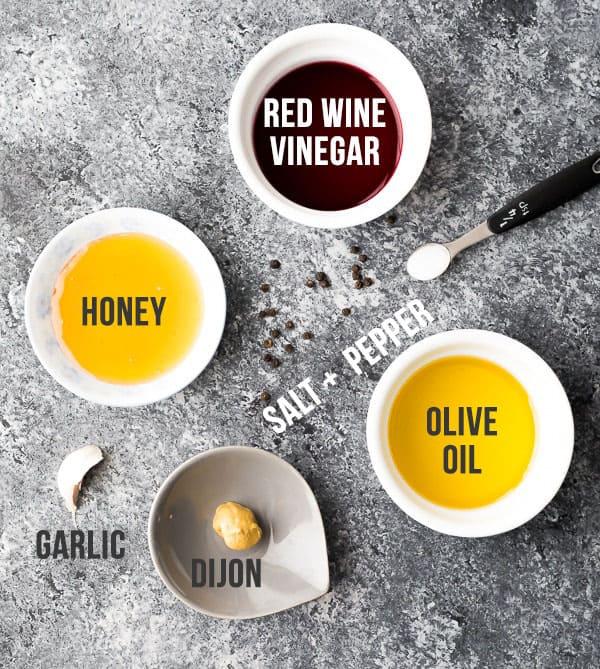 Ingredients for red wine vinaigrette recipe