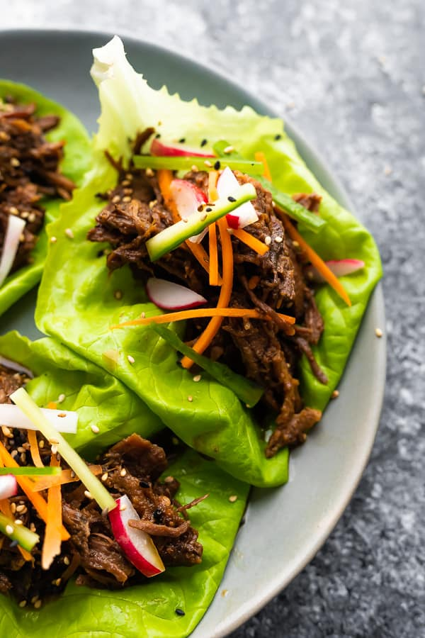 Overhead view of Korean Beef Lettuce Wraps on plate