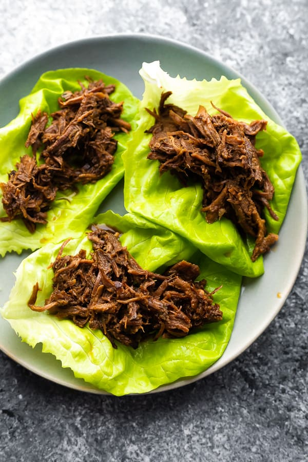 korean beef lettuce wraps without toppings on plate