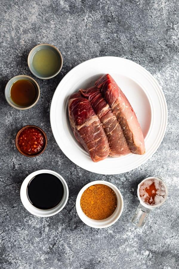 Ingredients needed to make slow cooker Korean beef