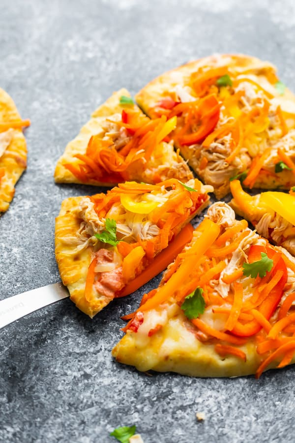thai chicken naan pizza for the 7 Ingredient Meal Prep Plan