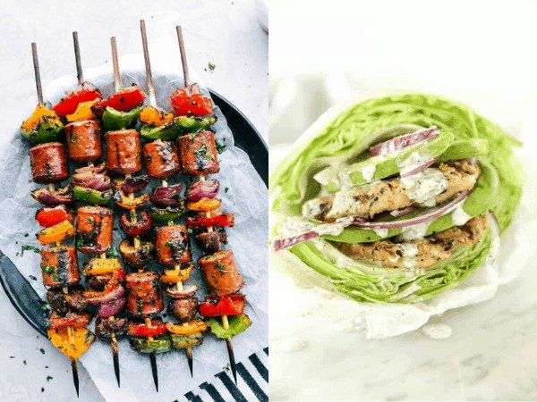collage image: grilled turkey dishes