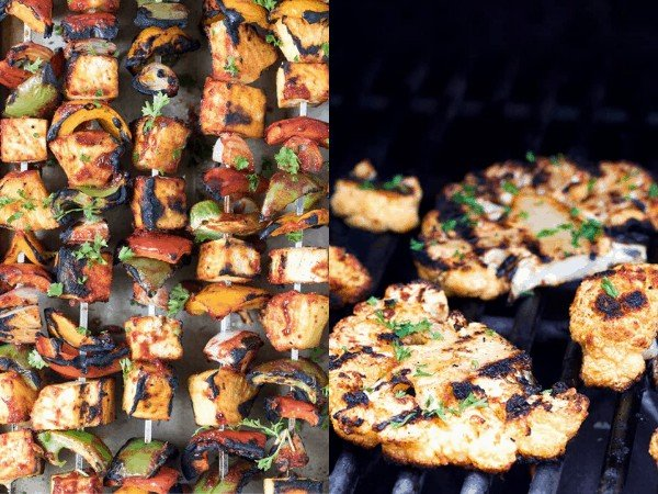 collage image: grilled meatless dishes