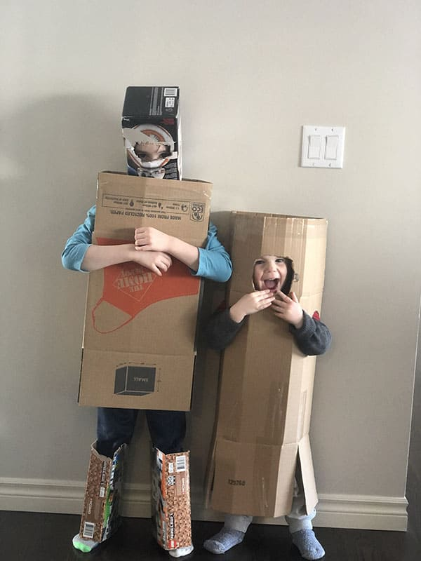 kids in cardboard suits