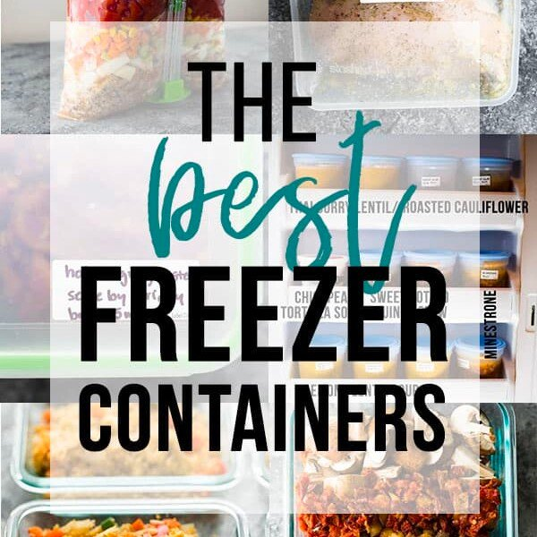 collage image with text overlay saying the best freezer containers