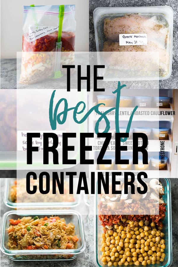 collage image with text that says the best freezer containers