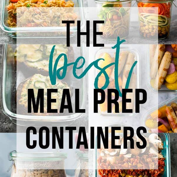 collage image with text overlay the best meal prep containers