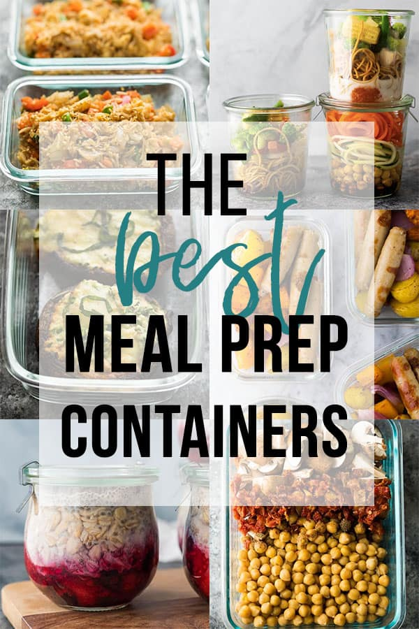 meal prep containers collage image with text