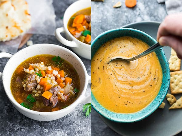collage image with two soup photos