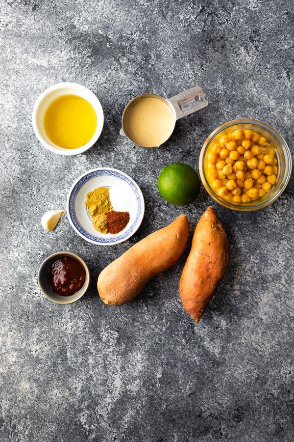 ingredients you need to make sweet potato hummus