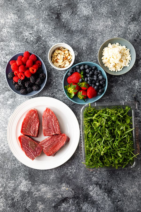 ingredients required for steak strawberry salad