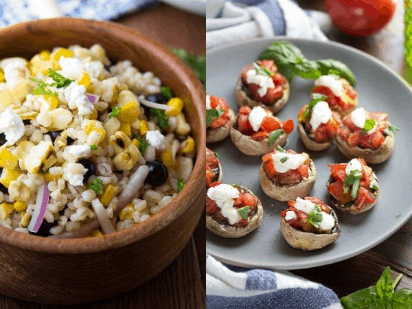 collage image: grilled appetizer and side dishes