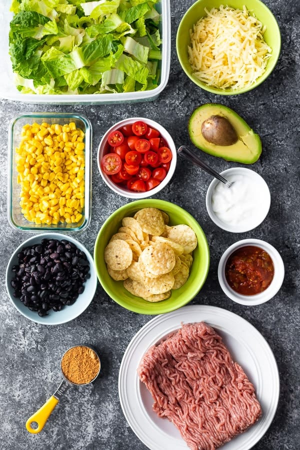 ingredients required for healthy taco salad recipe