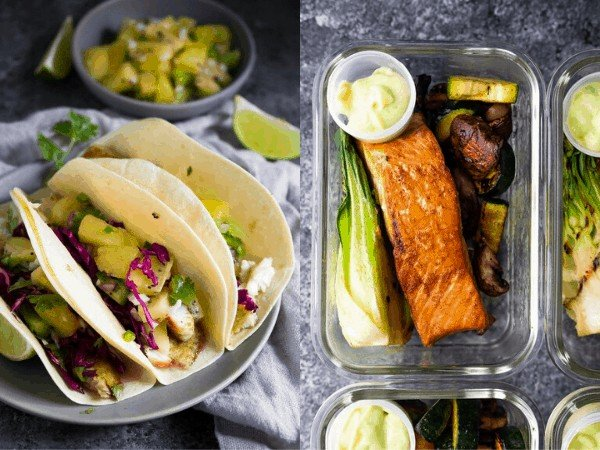 collage image: grilled seafood recipes