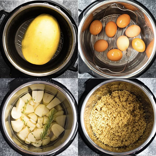 collage image of overhead shots of ingredients in the instant pot; 4 basic recipes