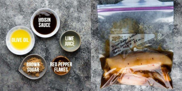side by side image showing ingredients before and chicken marinating in the brown sugar hoisin chicken marinade