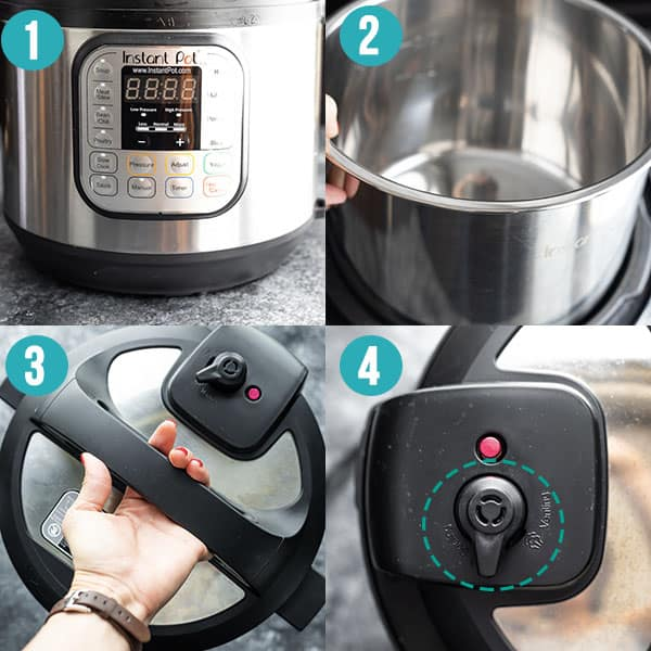 collage image showing the different parts of an Instant Pot