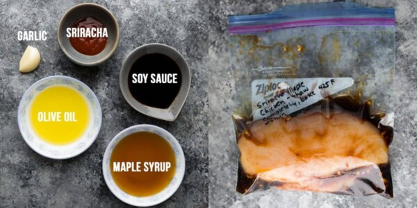 side by side image showing ingredients before and chicken marinating in the sriracha maple chicken marinade