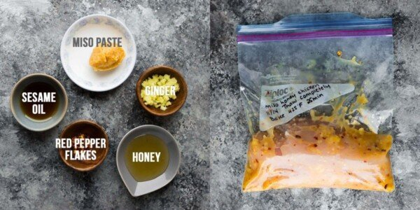 side by side image showing ingredients before and chicken marinating in the miso honey chicken marinade