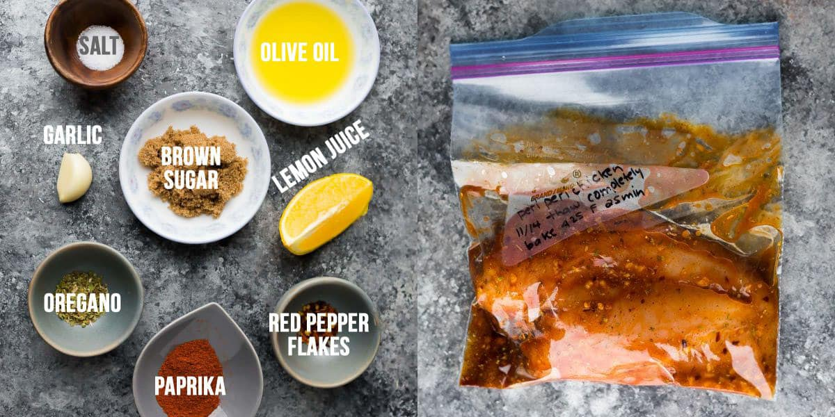 side by side image showing ingredients before and chicken marinating in the peri peri chicken marinade