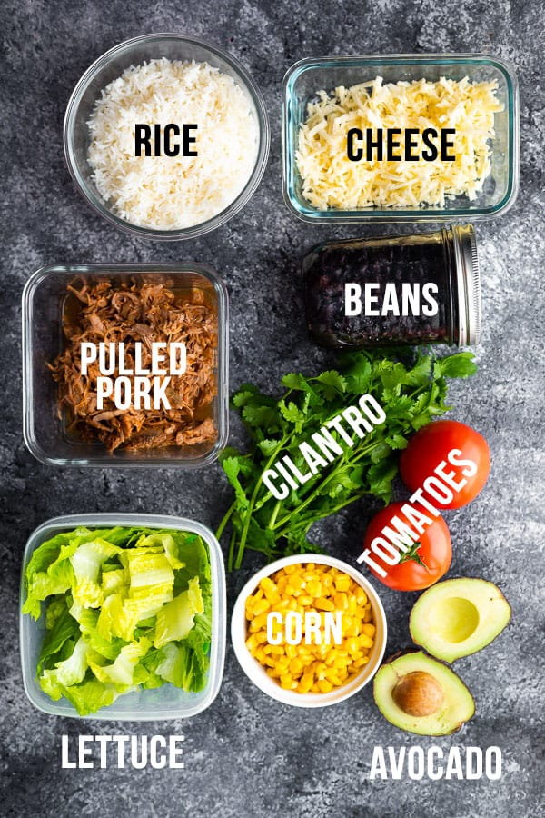 overhead shot with text description on multiple ingredients for the pulled pork burrito bowl