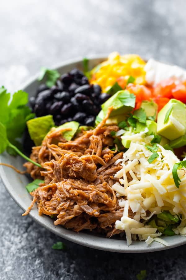 side angle view of the pulled pork burrito bowl