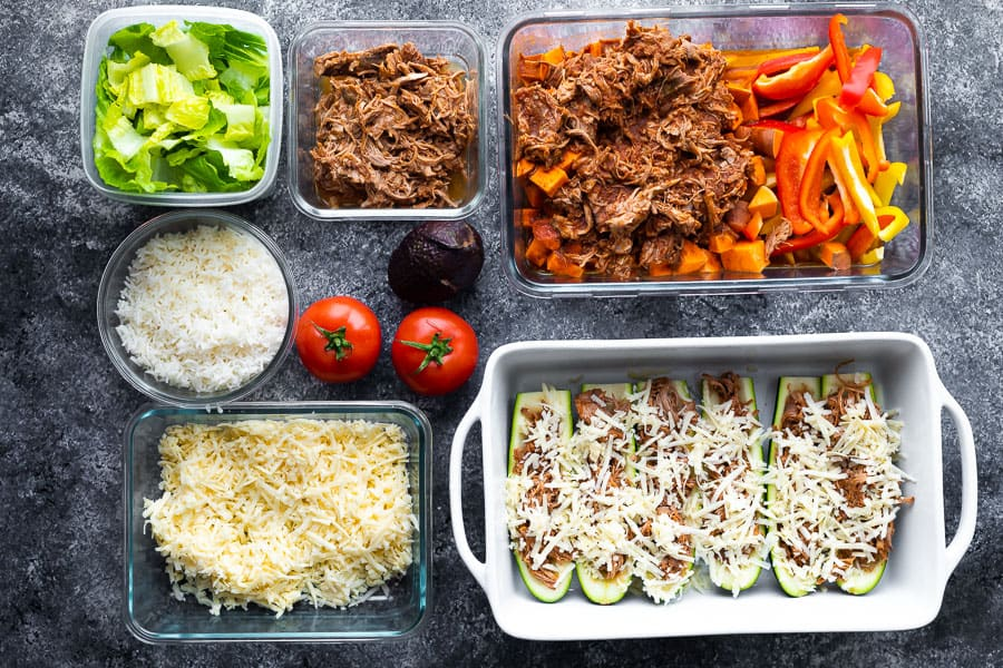 containers filled with meal prepped ingredients