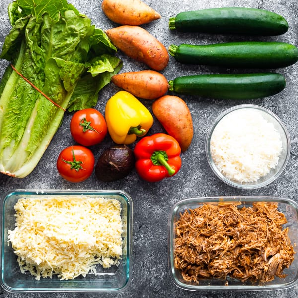 ingredients required for the pulled pork meal prep plan