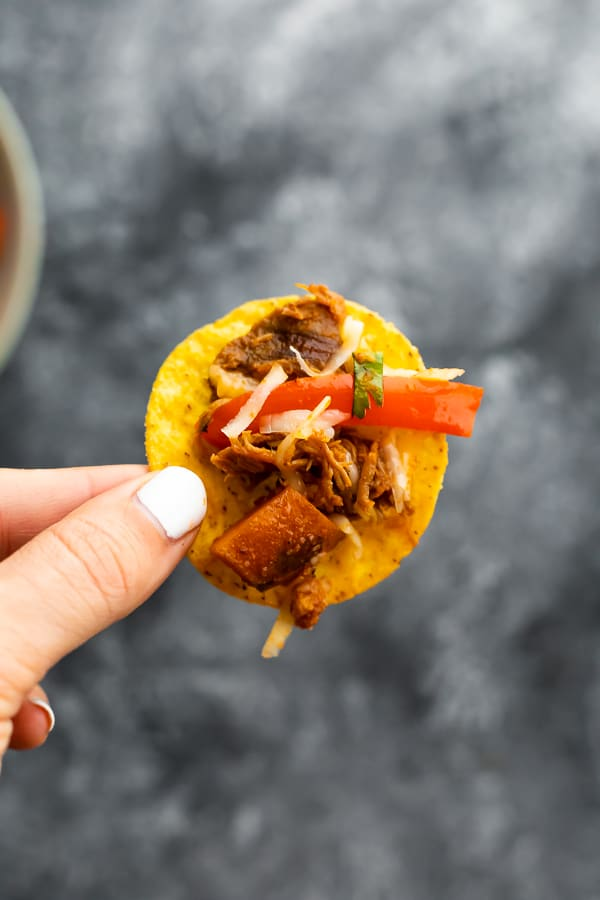 tortilla chip with pulled pork sweet potato skillet and cheese