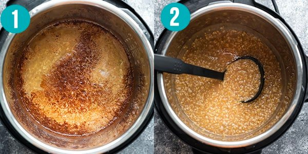 collage image showing how the oats look immediately after opening the instant pot versus ten minutes later