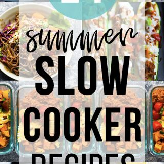 collage image with text overlay 29 summer slow cooker recipes