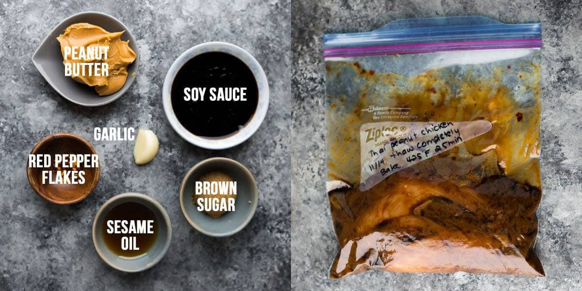 side by side image showing ingredients before and chicken marinating in the thai peanut chicken marinade