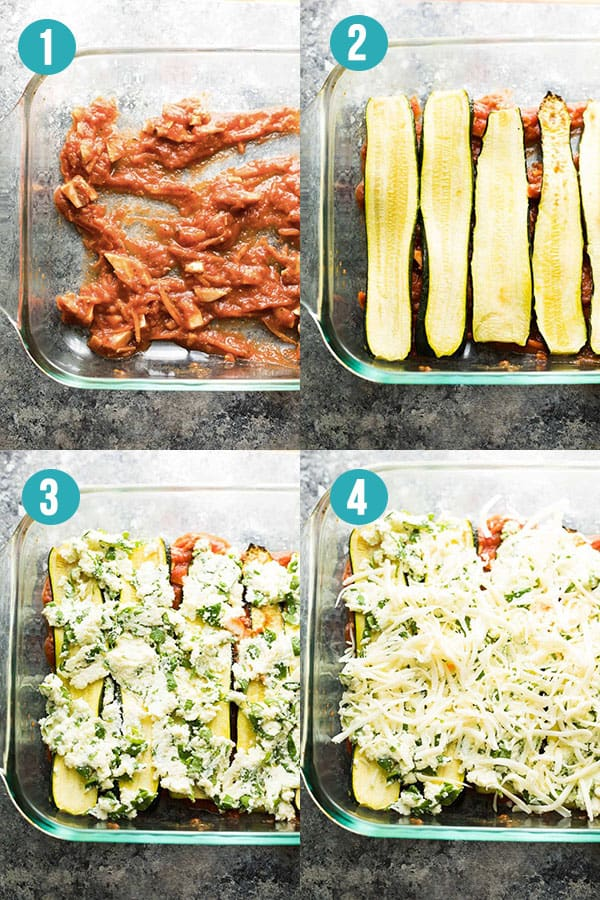collage image with step by step directions for how to layer zucchini lasagna