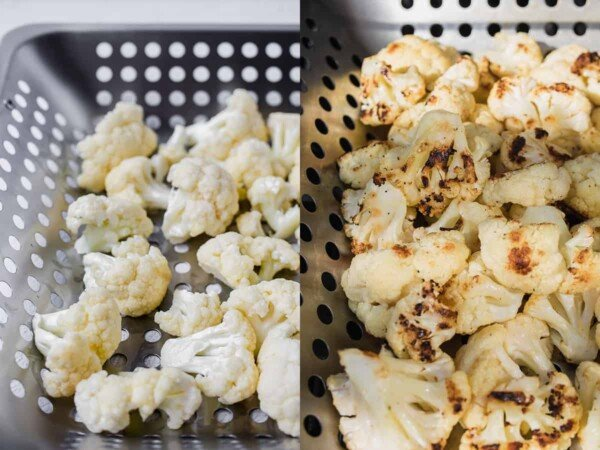 collage image of before and after grilling cauliflower in vegetable grilling basket