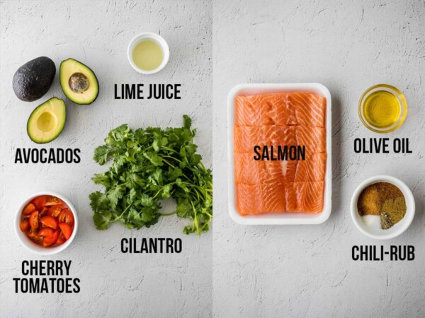image showing each ingredient required to make chili rubbed salmon and avocado salsa