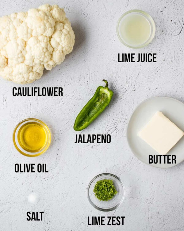 ingredients needed to make grilled cauliflower and jalapeno lime butter