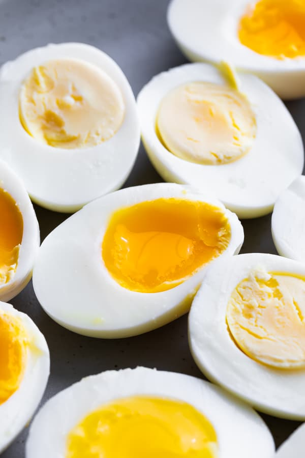 close up view of instant pot hard and soft boiled eggs on plate